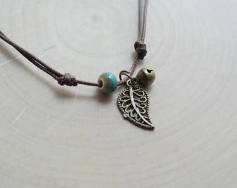 Cool Pastel Ceramic Bead Leaf Bracelet Waxed Linen Cord For Women/ Girls Jewelry