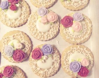 Multicolored Rose Cookies, Pastel Cookies, One Dozen Cookies, Lace Cookies, Floral Sugar Cookies, Decorated Sugar Cookies