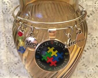 Autism Awareness Charm Bangle Bracelet