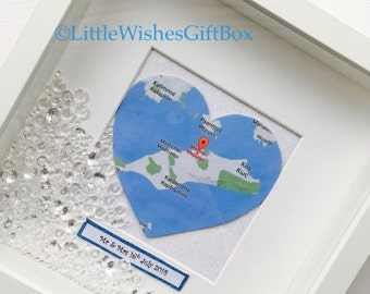 Map personalised box frame, special place, engagement, wedding gift, special date