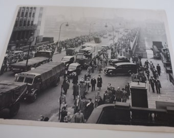 London Bridge Rush Hour ORIGINAL PRESS PHOTO 1954.