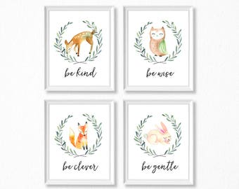 PRINTABLE, Woodland Nursery Art, Woodland Animals Nursery Prints, INSTANT DOWNLOAD, Deer Owl Fox Bunny Watercolor Woodland Set of 4
