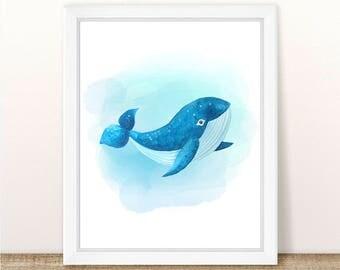 PRINTABLE Watercolor Whale Art Print, Sea Animal Art, Sea Animal Nursery Print, Marine Nursery, Ocean Nursery Wall Art, Whale Nursery Print