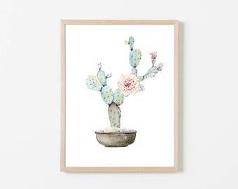 PRINTABLE Cactus Wall Art, Watercolor Cactus Art Print, Succulent Wall Print, Watercolor Succulent Wall Art Printable