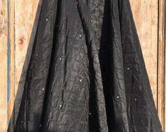 1950s Quilted black acetate circle skirt 25/26 with diamantes !