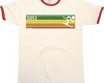 Retro SKIING Strip Mens RINGER T-Shirt Skier Cool Fashion New