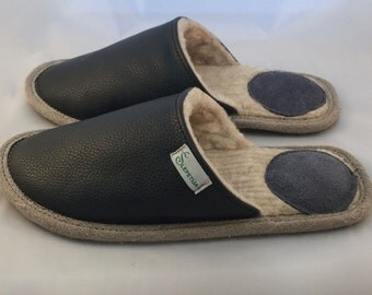 Women slippers, black slippers, leather slippers, wool slippers, warm slippers, closed toe slippers, home slippers, women's house shoes