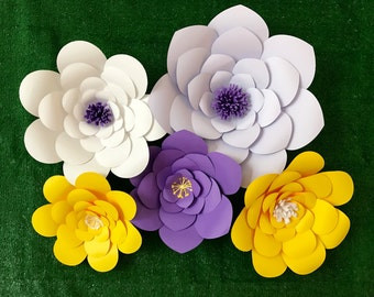 Large Paper Flower Back Drop set of 5 Lavender Purple and Yellow Baby Shower Decor Giant Paper Flower Wall Decor Tangled Rapunzel Photo Prop