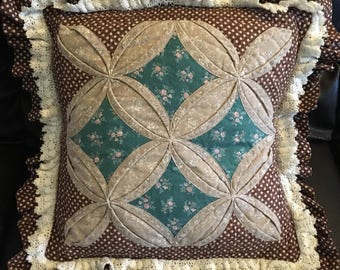 Floral quilted pillow
