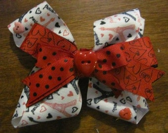 Heart Paris Stacked Ribbon Hair Bow 5 inch Bow