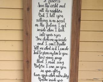 Wedding Lyrics - Custom Wooden Sign