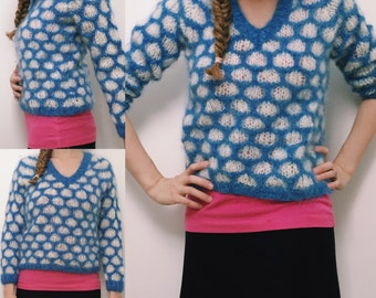 Blue and White Honeycomb Knit Sweater • Vintage Sweater • Wool Sweater