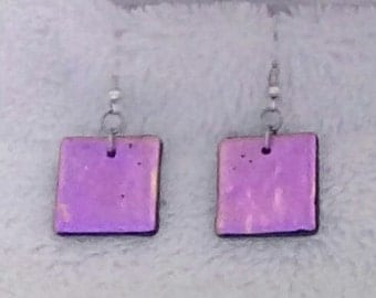 Snazzy hot pink dichroic glass earrings