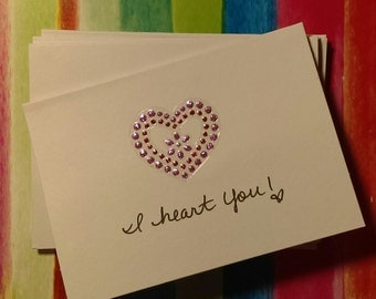 "Set of 6 handmade, handwritten blank ""I heart you!"" mini cards and envelopes"