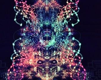Art Print   Fire Molekule- Psychedelic Canvas UV Spiritual Gift Sacred Geometry Trance Visionary Art