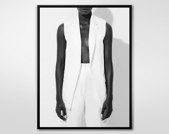 Woman In White, Black and White Photography, Fashion Photography, Wall Decor, Abstract Large Printable Poster, Modern, Minimalist