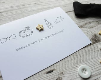 Best Man Gift - Best Man - Best Man Card - Best Man Proposal - Will You Be My Best Man - Will You Be My Usher - Best Friend - Wedding Card