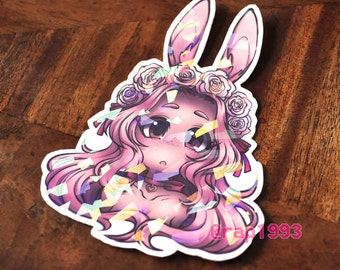 SPECIAL EDITION Sparkly Rose Bunny 3.5in Sticker!