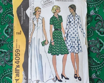 70s Misses' Pointed Collar Part-way Buttoned Front Flared Dress Pattern McCalls 4059 Vintage Sewing Pattern Size 14 Bust 36""