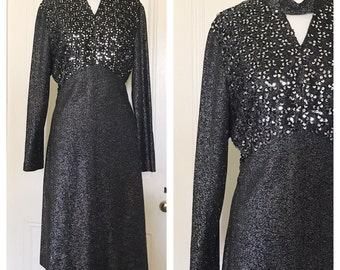 Vintage 70's Metallic Lurex Sequin Dress