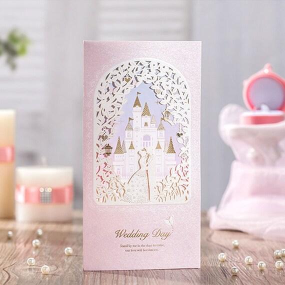 12 Pink Cinderella Wedding InvitationsCastle Wedding Invitation – Disney Princess Wedding Invitations
