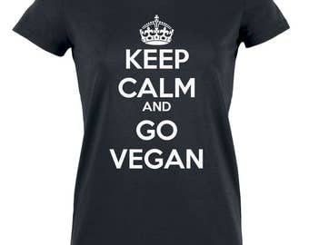 "Organic cotton woman - ""Keep Calm and GO VEGAN"" T-shirt, tshirt vegan"