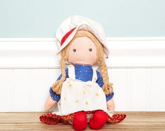 Holly Hobbie Doll-The Original Holly Hobbie Doll -1776 Bicentennial Collector Doll - Patriotic- Vintage American Red White Blue Limited