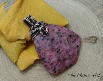 Unique agate pendant wirewrapped in copper / Handmade