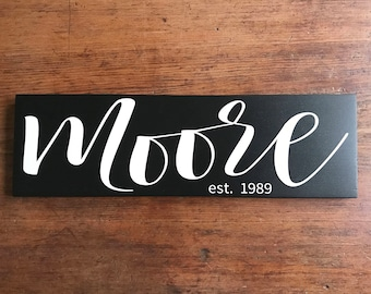 Wooden Signs For Home, Custom Name Sign, Family Established Sign, Personalized Established Sign, Wedding Gift, Wood Sign Home Decor, 5.5x18
