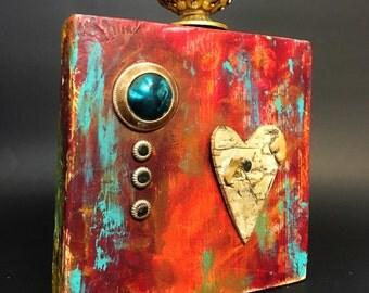 repurpose wood art, mix media,bead, knob, rustic