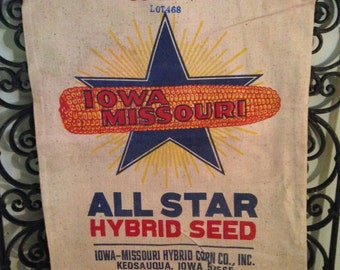 Vintage Cloth Advertising Iowa Missouri Hybrid Seed Sack