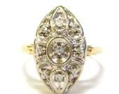 1940s 14K Diamond Oblong ...