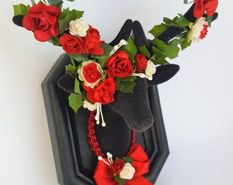 Matt Black Stag Deer Head With Red Mulberry Rose Floral Crown Bohemian Hippy Sweet Romantic