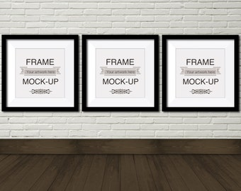 digital frame mockup three square frames 10 x 10 inch 12 x 12 inch 15 x 15 inch wooden floor product mockup white brick wall