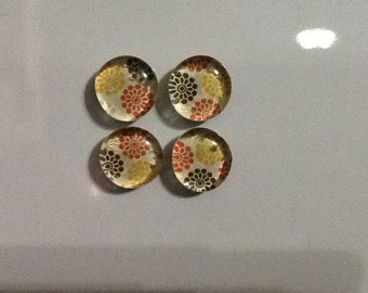 Set of 4 multicolored flower glass stone magnets