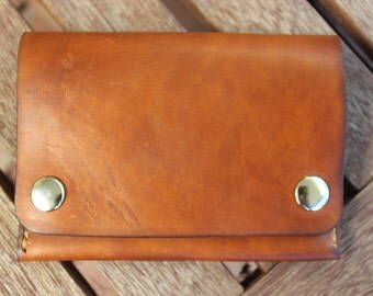 Leather Wallet, Biker Wallet, Handmade Wallet, Snap Wallet, Trucker Wallet