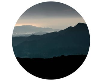 Sunset at the Mountain, Faded Colors, Shades, Circle of Mountains, Rounded Frame, Visual Poetry, Fine Art Print, Minimalist Photography