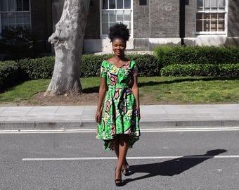 Ama Green Asymmetric Dress