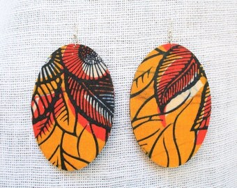 Large Ankara African Fabric Earrings