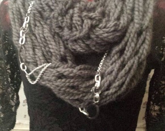 Hand Knitted Infinity Scarf.