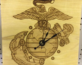 Custom Wood Clock with marine logo