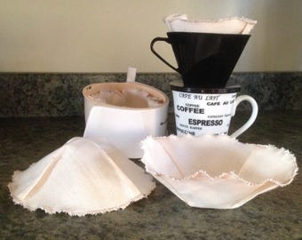 Organic Cotton Reusable Coffee Filter, Universal Basket Filter, Zero Waste 2 pk Coffee Filter, Eco Friendly, GOTS Greige Muslin and Thread