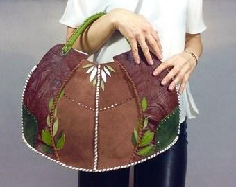 Handmade Leather Tote Handbag Brown