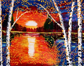 Original painting thick acrylic on canvas - Romance of the Night