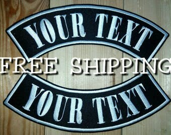 Large custom rockers patches with your text 2psc . Biker patches. 3 size