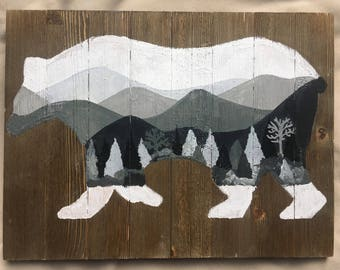 Forest Bear Wood Painting