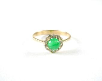 Edwardian Emerald Cabochon Diamond 14k Yellow Gold Ring