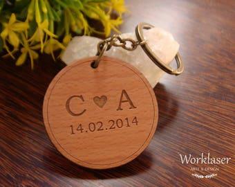 Wooden Keychain, Custom Engraved Keychain, Engraved wood keychain, Couple Keychain, Initials Keychain, Keychain