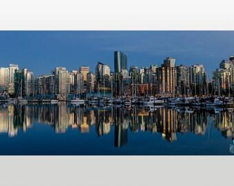 20x40 Metal Art Print - Vancouver Skyline, Canada - Wall Decor - Panoramic Photography