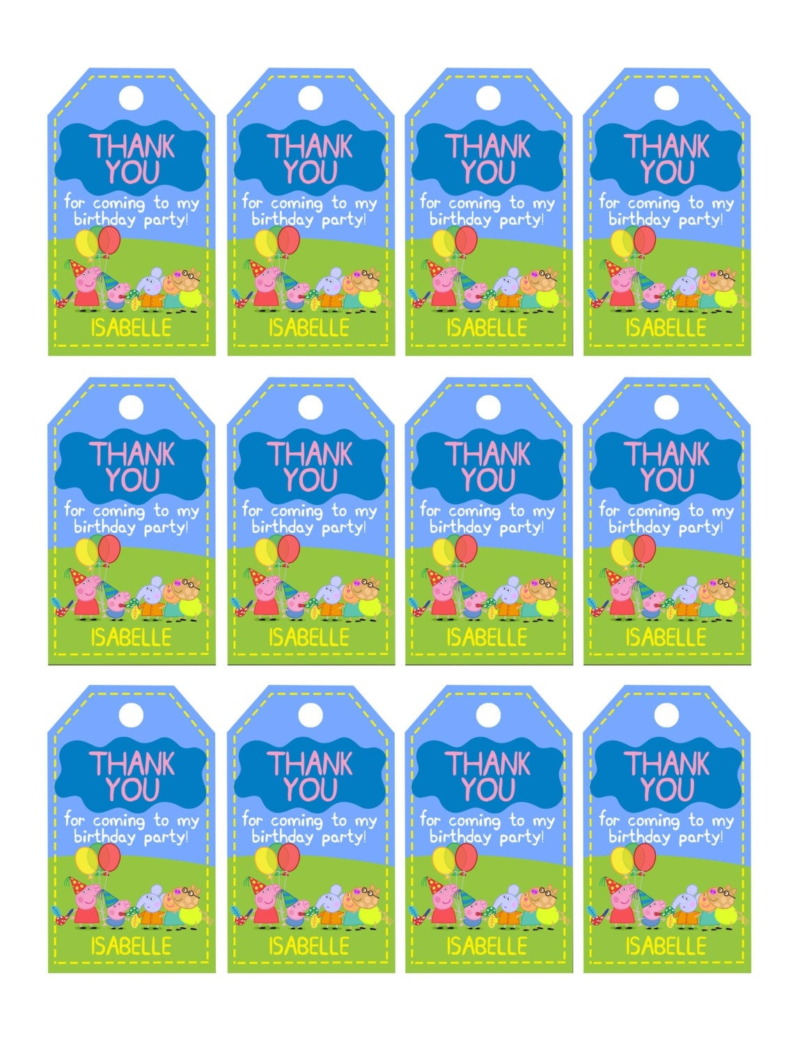 peppa pig thank you tag instant download our peppa pig thank